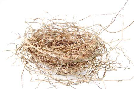 Empty birds nest isolated on a white background Stock Photo