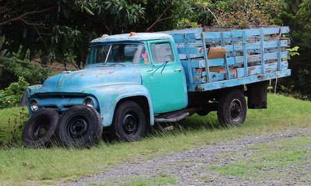 Broken down old truck abandoned on a field  Stock Photo - 3248439