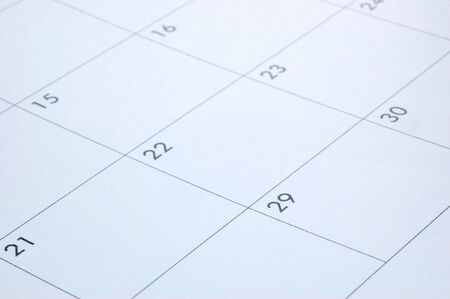 calendar planner showing the days of a month Stock Photo
