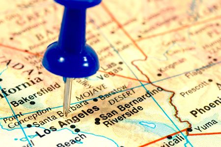 Map of Los Angeles marked  with a green pin