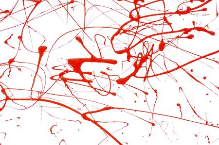Abstract background of red paint splattered on a white paper Stock Photo