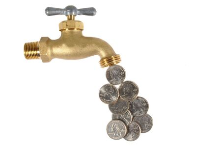 Water tap open dripping dollar coins, Waste concept photo