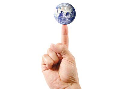 finger tip: Planet earth on the tip of a finger