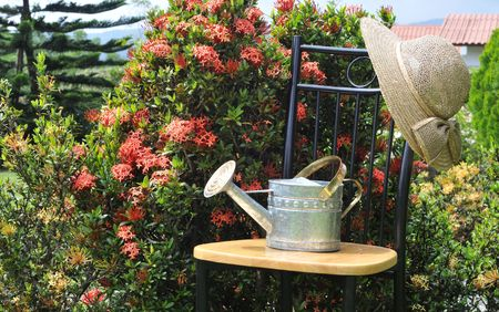 Watering can on a cahir in a garden Stock Photo