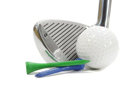 Golf club with ball and tees isolated on white