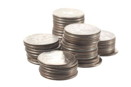 Dollar quartes coins isolated on a white background