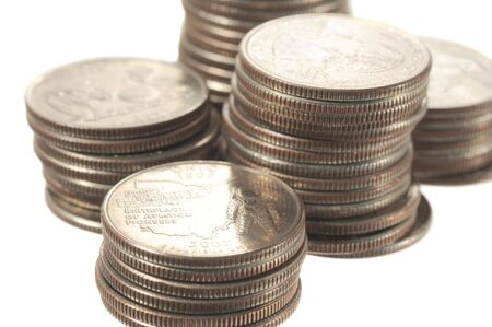 Quartes coins isolated on a white background photo
