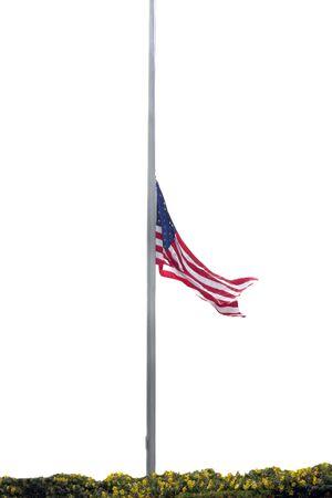 half and half: La mitad de m�stil de bandera americana en un cementerio militar de Foto de archivo