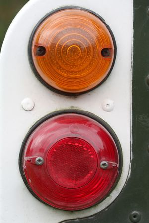 Macro shot of tail lamps on an old pick up truck Stock Photo