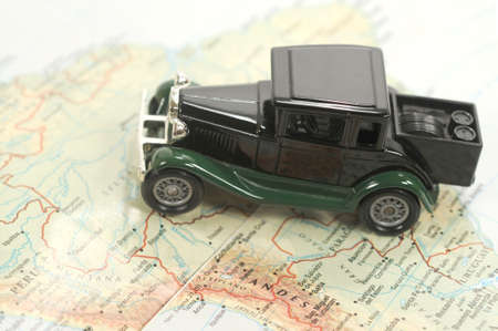Toy car over a map of south america Stock Photo - 5575273