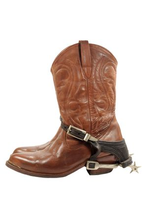 Western boots and spurs isolated on white 版權商用圖片