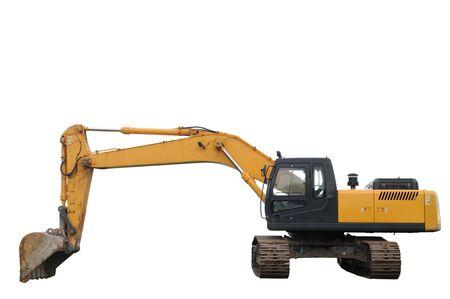 back hoe: Excavator isolated on a white background Stock Photo