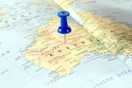 Map of Australia ith a blue tag Stock Photo - 6755516