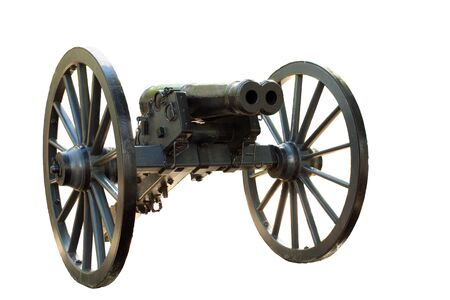 Double barrel cannon from the civil war isolated on white