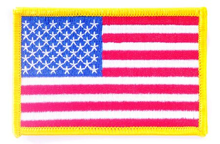 patches: Macro shot of a US flag patch isolated on white