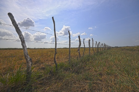 HDR image of a barbwire fence over a pasture field in the country with a dramatic sky and  the sun shining Stock Photo