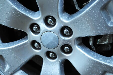 Close up shot of an auto wheel with water drops on its surface Stock Photo - 17001624