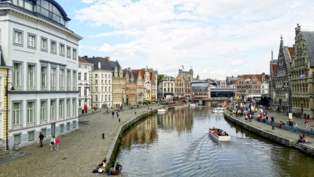 View of the beautiful city of Ghent Belgium showing the river canal photo