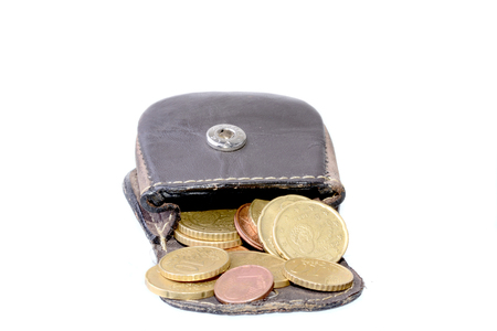 change purses: Small coin purse with Euro coins isolated on white Stock Photo
