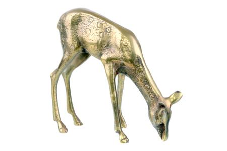 doe: Bronze deer doe figurine isolated on a white background