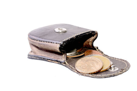 change purses: Small coin purse with Dollar coins isolated on white Stock Photo