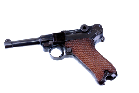 luger: German Luger pistol isolated on a white background