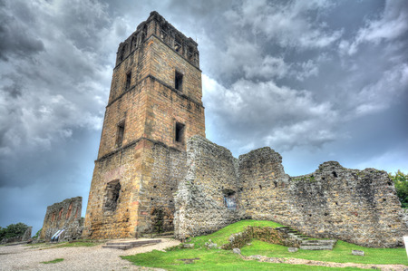 Ruins of the Church bell tower of the Old Panama City Panama.