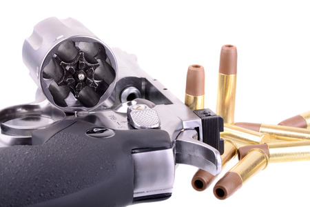 38 caliber: Macro shot of an open revolver loaded with bullets Stock Photo