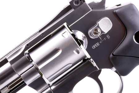 38: Macro shot of a stainless steele revolver Stock Photo