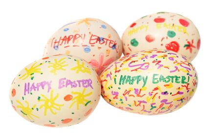 Close up of a group of easter eggs on a white background