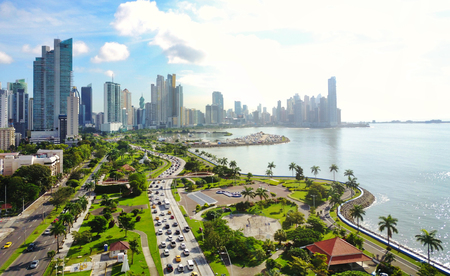 Aerial view of the modern skyline of Panama City , Panama Stock fotó - 99831832