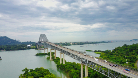 Panoramic aerial view of the Bridge of The Americas over the Panama Canal Pacific Entrance