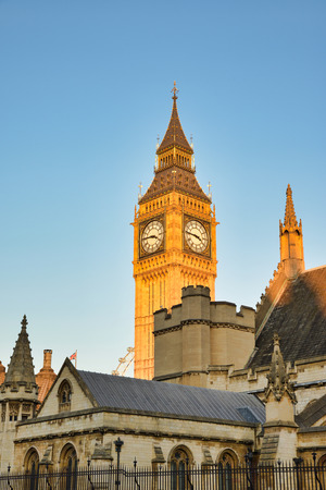 Palace of Westminster the south side on Ablingdon St, Westminster England and the clock tower