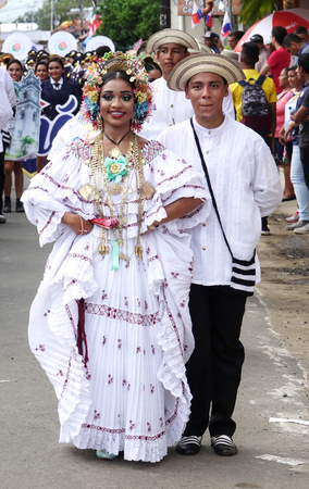 LOS SANTOS-PANAMA, 2017: In Panama, handmade polleras are worn during festivals or celebrations Редакционное