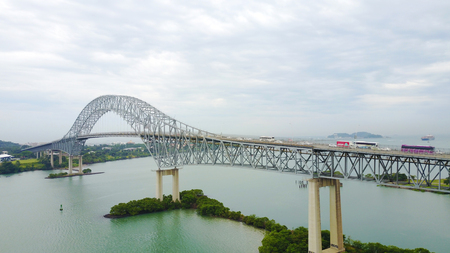 PANAMA CITY, PANAMA-OCT 13,207: The Bridge of the Americas,  a road bridge in Panama, which spans the Pacific entrance to the Panama Canal.