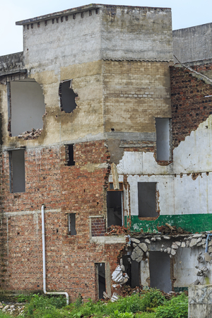 buildings being demolished in the town of Liuzhou, Guangxi