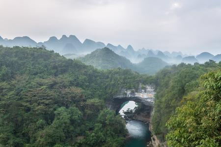 Morning view of Xiangqiao Karst National Geological Park, Luzhai, Liuzhou, Guangxi, China Banque d'images