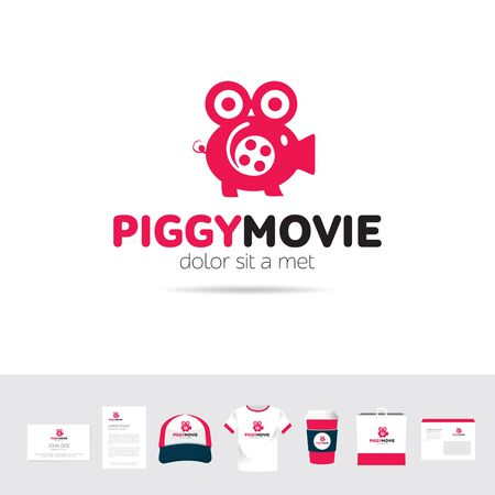 company: Piggy Movie business company logo template sign Illustration
