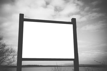bilboard: Billboard in the forest, free place for your text or image. Stock Photo