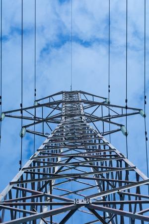 power pole: High Voltage Power Pole against the sky Stock Photo