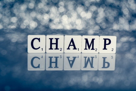 champ: Created word of tiles with letters - champ Stock Photo