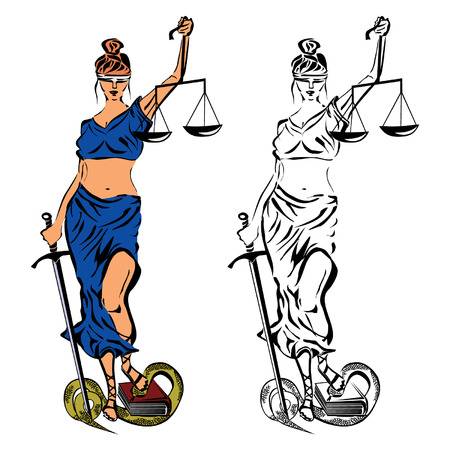 Themis. The ancient Greek goddess of justice, fairness and impartiality of the court. Vector