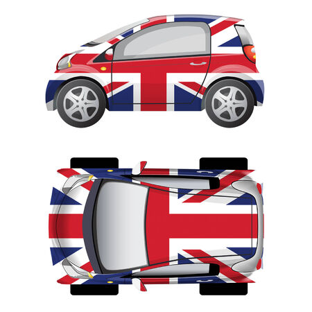 small car: Small car painted in the colors of the British flag. Side view and top view.