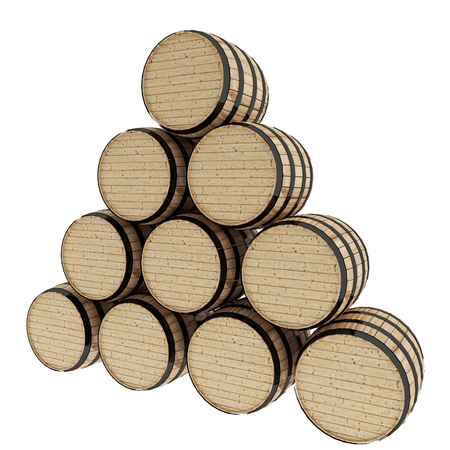 rum: oak barrels on isolated white in 3D illustration Stock Photo