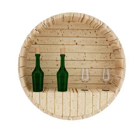 ferment: wine oak barrel decoration in 3D render image