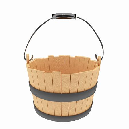 steel. milk: wood bucket on isolated white in 3D illustration Stock Photo