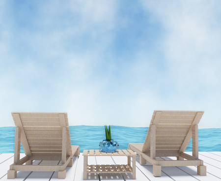 beach lounge on seaview vacation in 3D rendering Stock Photo
