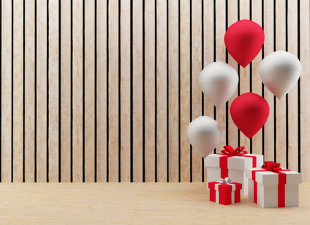 gift boxes with red and white balloons for festival and celebration in 3D render image