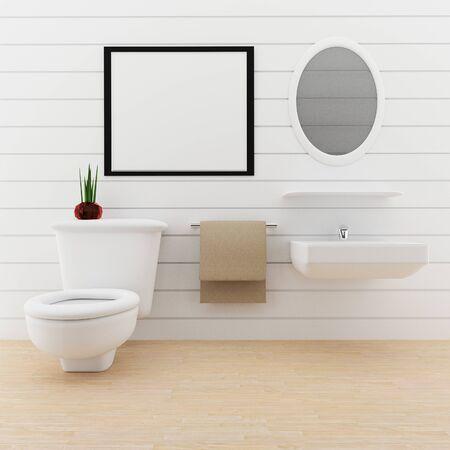 handkerchief: mock up photo frame in the toilet room in 3D rendering Stock Photo