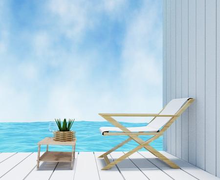 seaview in white room interior design in 3D rendering